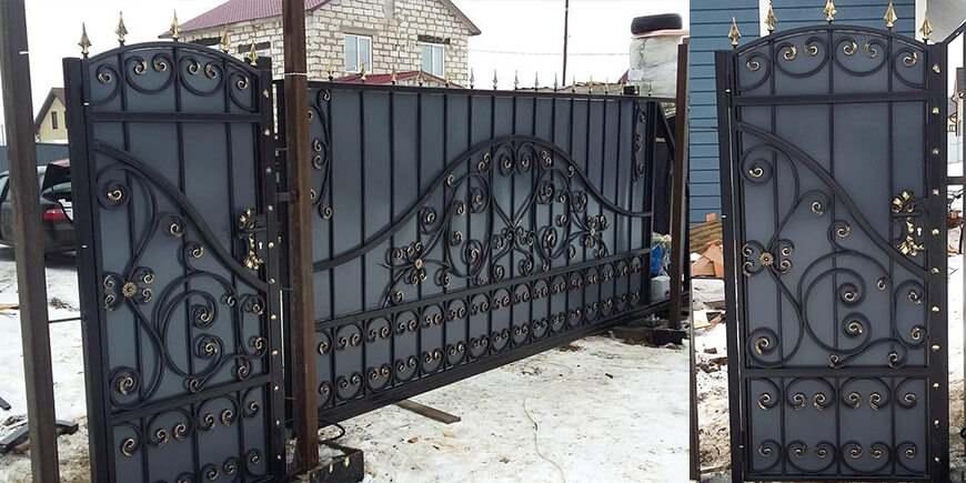 Кованые откатные ворота под заказ в Минске