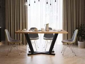 Обеденный стол в стиле лофт 13