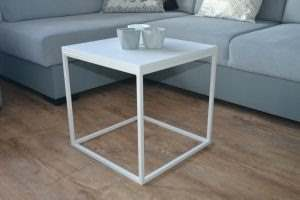 Журнальный столик лофт белый 4